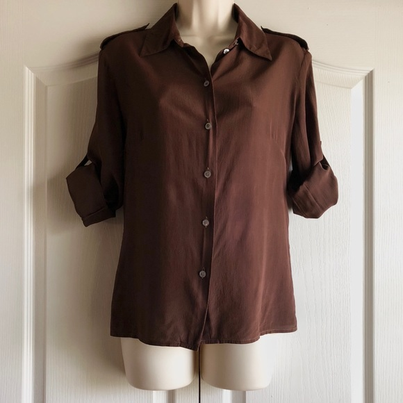 5f2356f5c87 Celine Tops - Celine Silk Roll Tab Sleeve Shirt